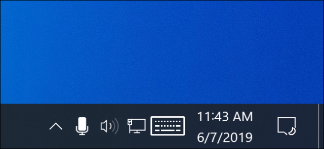 Microphone icon in the Windows 10 notification area