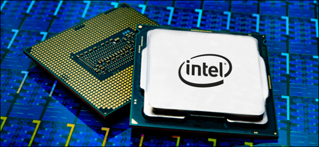 Intel Core i9 processor on a blue background.