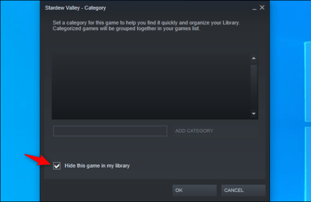 Hide a game from your Steam library