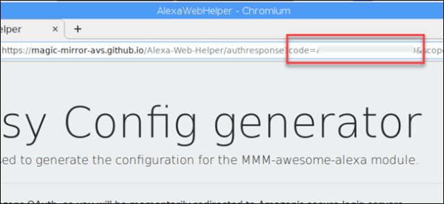 URL indicating the code of the Alexa device.