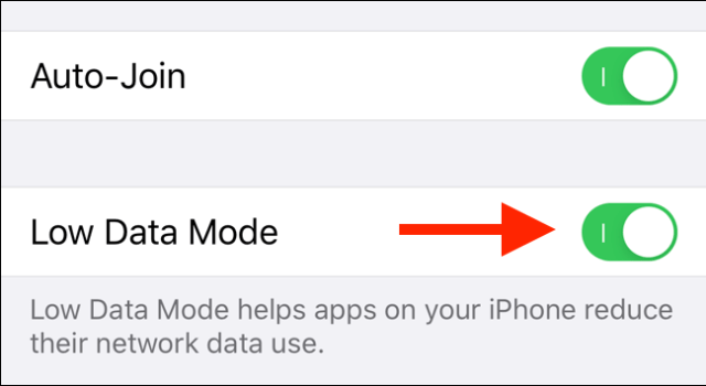 Press the button to activate Low Data mode for Wi-Fi.