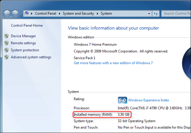 Viewing the amount of RAM of a computer running Windows 7