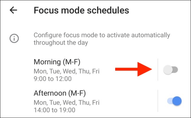 Press any toggle to activate a preset schedule for Focus mode.