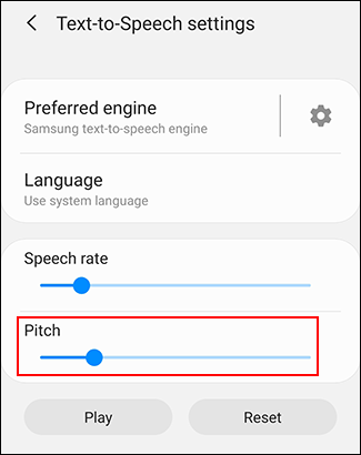 Move your Pitch slider to change your TTS pitch rate