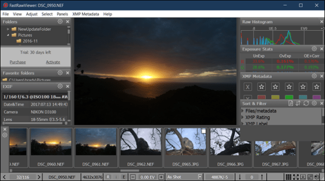 Example of FastRawViewer View