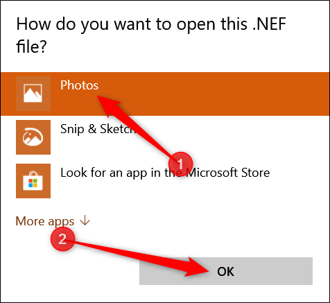 Double-click the image you want to open, click Photos, and then click OK