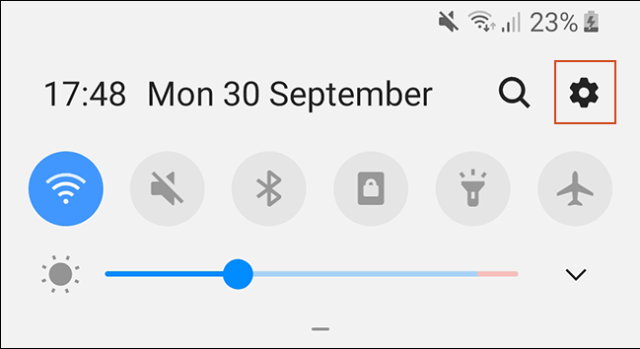 The shadow of the Android notifications.