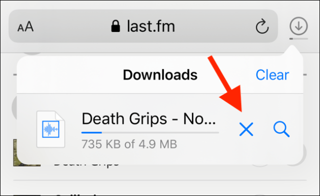 Press the X button to stop a download