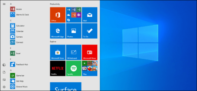 The new default layout of the Start menu for the April 2019 update