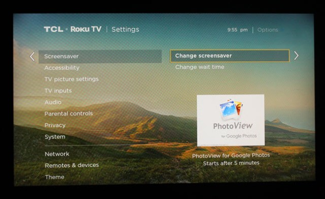 Roku screen saver settings dialog, with PhotoView selected.