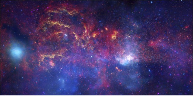 An image of the Milky Way taken by NASA telescopes