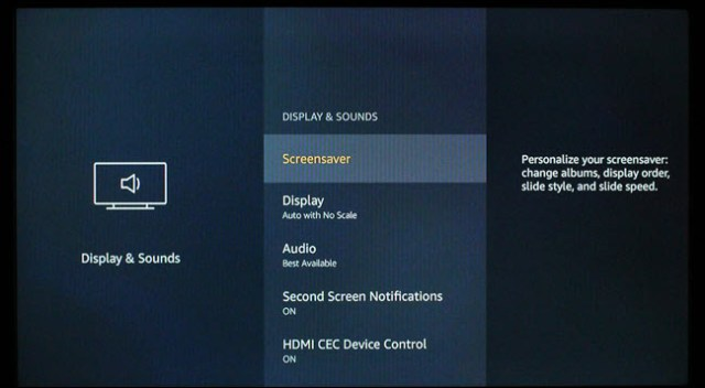FireTV display and sound settings dialog.