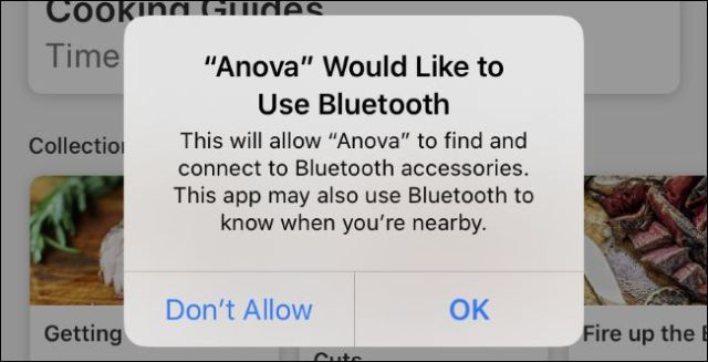 Generic Bluetooth authorization request message from Anova app on iOS 13.