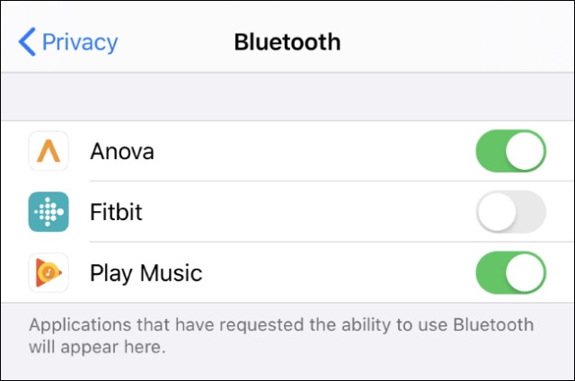 View and control which applications can use Bluetooth on an iPhone or iPad.