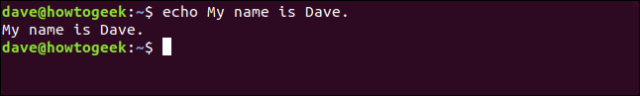 echo My name is Dave. in a terminal window