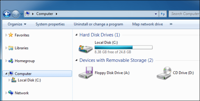 Windows 7 Computer pane showing a local drive.