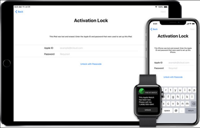 The activation lock screen on an iPhone, iPad and Apple Watch.