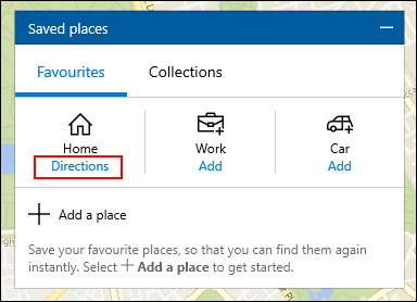 Under Home on the Saved Places tab, click Directions