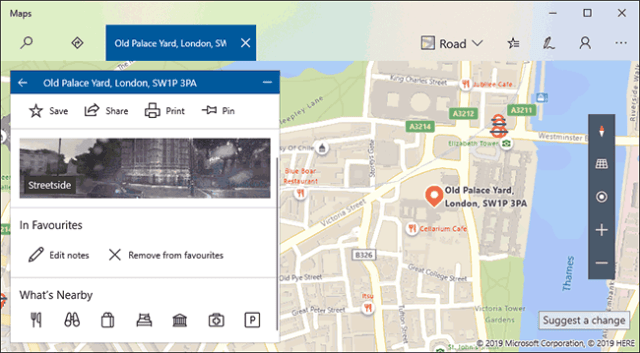 An example of a list of favorite locations in Windows 10 Maps
