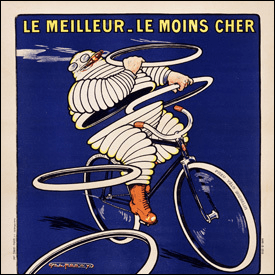 A first advertisement featuring the Michelin man