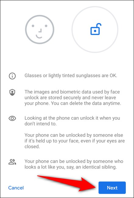 Google Pixel 4 Select Next after reading the instructions