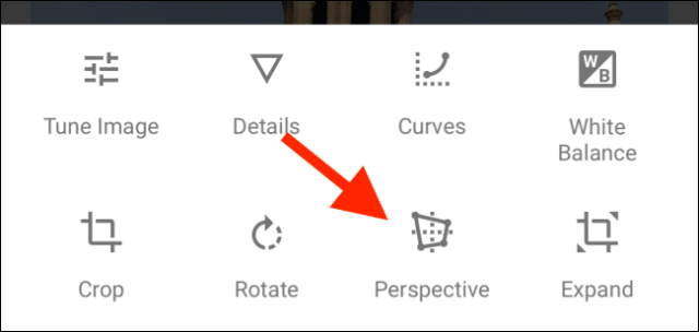 Tap the Perspective icon