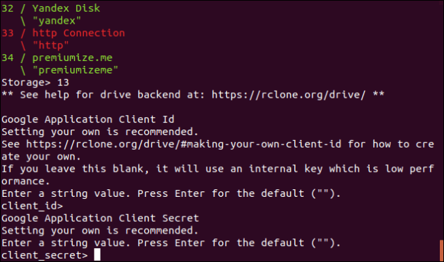 request a secret Google application client in a terminal window