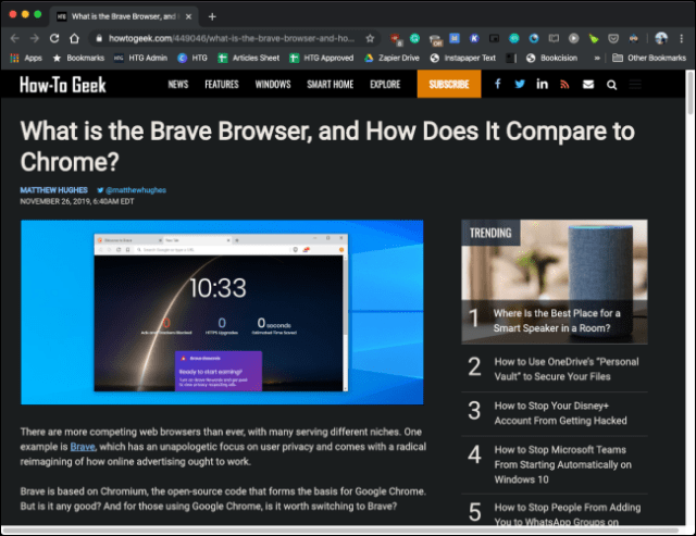 The Dark Reader extension in action in Google Chrome