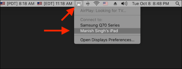 Click to activate Sidecar in the AirPlay menu