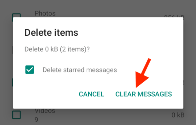 Press Clear messages to confirm