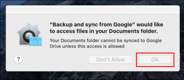 Click OK to allow backup and sync access to your Mac document folder