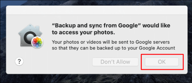 Click OK to authorize access to the backup and synchronization of your photos, otherwise click OK