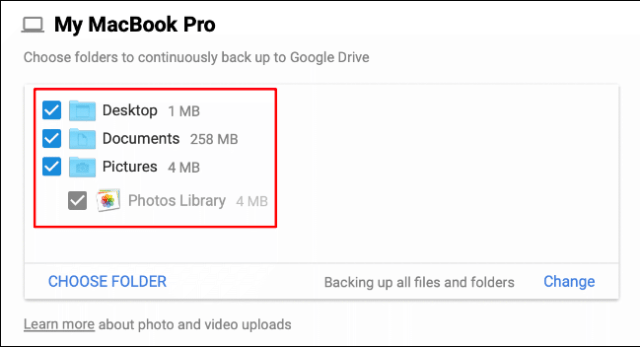 During the Google Drive backup and sync setup process, select the folders you want to sync