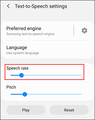 Move the Voice rate slider to change your TTS voice rate