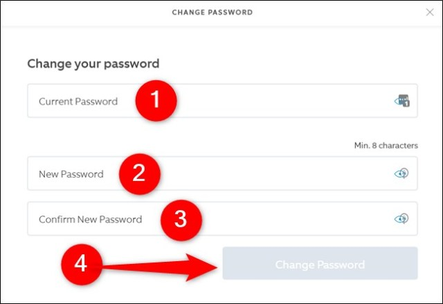 Ring website Enter old and new passwords, then click the Change Password button.