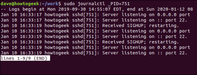 sudo journalctl _PID = 751 output in a terminal window