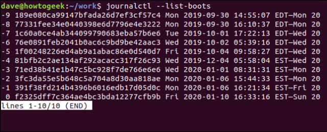 journalctl - list-boots in a terminal window