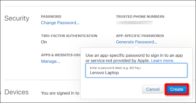 Create an application-specific password