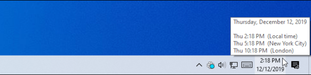 Hover over the taskbar clock for additional time zone information.