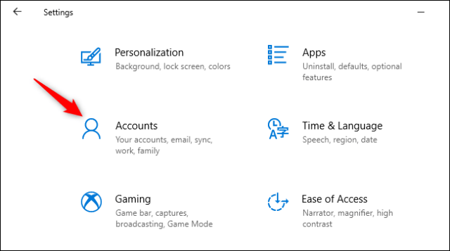 Opening accounts in the Windows 10 Settings app.