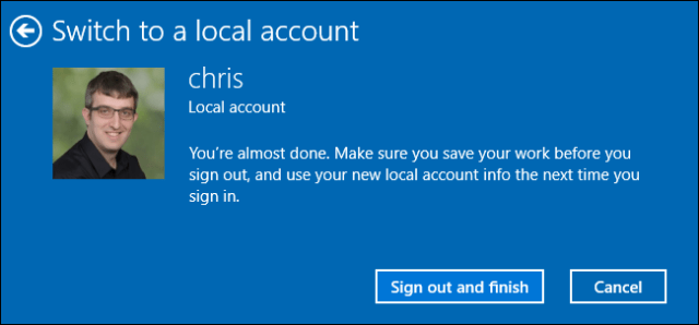 Sign out to convert a Microsoft account to a local account on Windows 10.