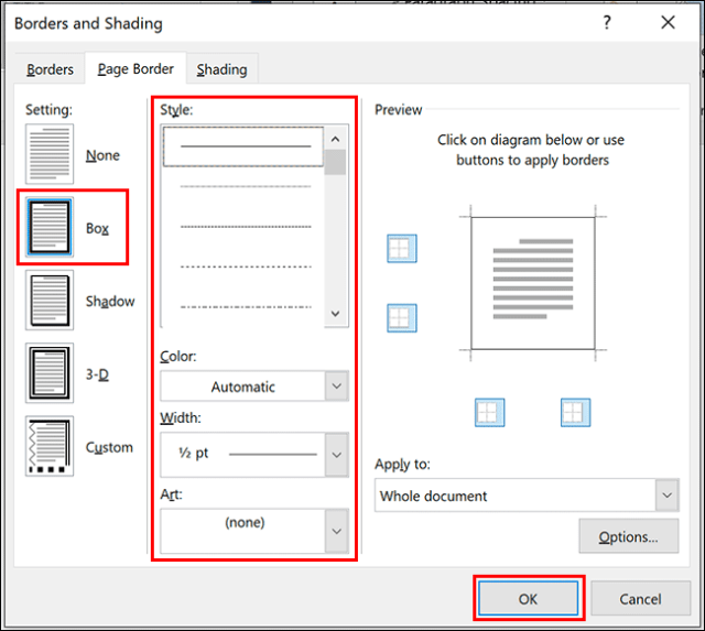 In the Borders and Shading dialog box, select Box, choose your color, style and width options, then click OK to apply it to your document.