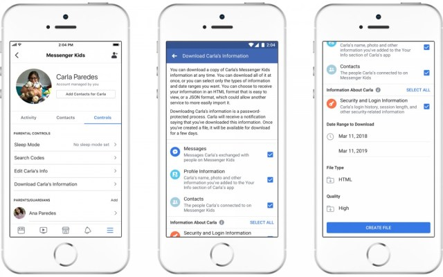 Screenshots showing new features in the Messenger Kids app