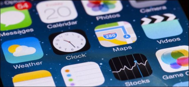 The default iOS apps on an iPhone home screen.