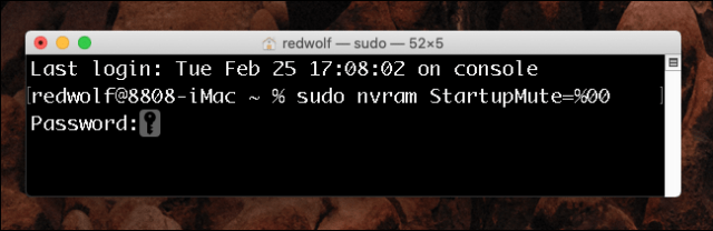 Mac OS X terminal window - Activate boot chime