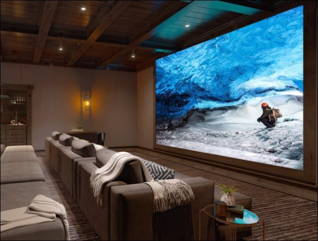 A Sony 8K Crystal LED display wall in a home theater.