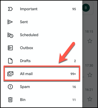 Click the hamburger menu, then tap the All Messages tab in the Gmail app