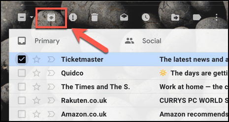Tap the Archive button to archive an email in Gmail