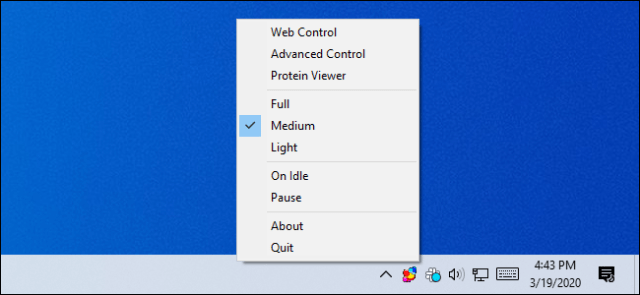 Control of Folding @ home software from the Windows notification area