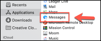 Launch the Messages application from the Applications folder in the Finder
